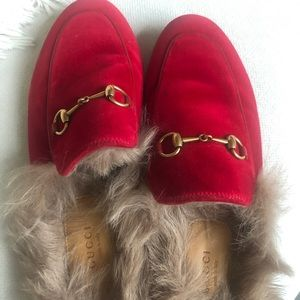 Gucci Princetown Slippers W/ Fur